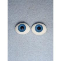  Doll Eye - Flat Back Glass - 12mm Blue