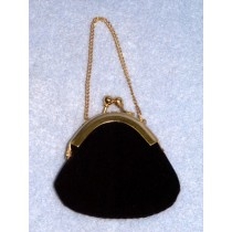 "|Doll Purse - 2"" Black Plush"