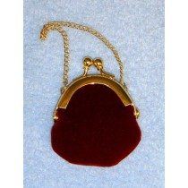 "|Doll Purse - 2"" Burgundy Plush"