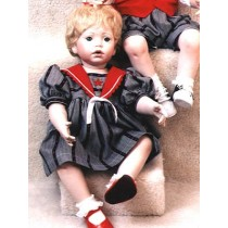 "|Dress - Sailor - 24"" Navy Stripe"