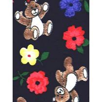 |Fabric-Brown Bears_Flower Knit-Nav