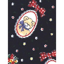 |Fabric-Cameo Bear_Flowers Knit-Nav