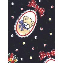 |Fabric-Cameo Bear_Flowers Knit-Nav