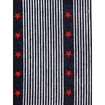 |Fabric-Stripe w_Red Stars Knit-Navy
