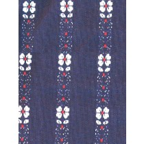 |Fabric -Navy w_White Flowers Woven