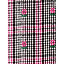 |Fabric -Plaid w_Pink Flowers Woven
