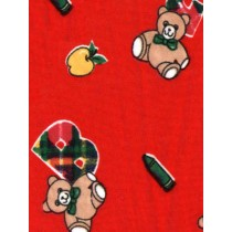 |Fabric - Bears w_Alphabet Knit -Red
