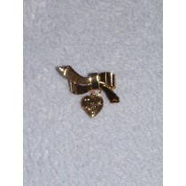 |Gold Etched Heart Locket Bow Pin