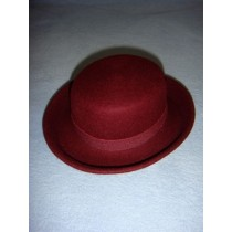 "|Hat - 100% Wool Felt Flat Top - 13"" Bordeaux"