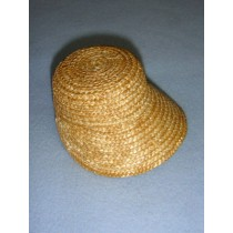 "|Hat - Flat Top Straw Bonnet - 3 1_4"" Natural"