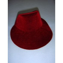 "|Hat - Flocked Bonnet - 6"" Burgundy"
