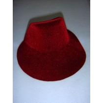 "|Hat - Flocked Bonnet - 6"" Burgundy"