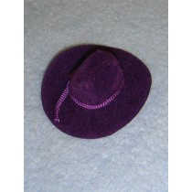 "|Hat - Flocked Cowboy - 2"" Purple"