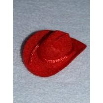 "|Hat - Flocked Cowboy - 2"" Red"