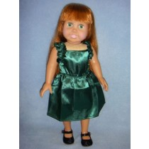 "|Hunter Green Ruffle Dress for 18"" Dolls"