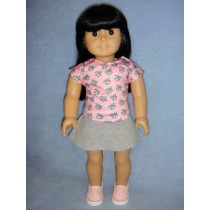 "|Kitty Top & Skirt for 18"" Dolls"