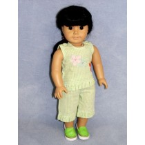 "|Lime Green Daisy Outfit - 18"" Doll"