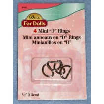 "|Mini ""D"" Rings - Nickel Pkg_4"