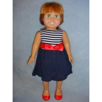 |Navy Striped Dress w_Red Bow