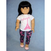 "|Paris Top & Leggings for 18"" Dolls"