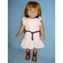 "|Pink Dress w_Brown Belt for 18"" Dolls"
