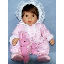 "|Pink & White Outfit w_Tulip Trim - 19""-22"" Doll"
