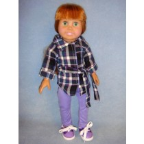 "|Plaid Tunic w_Purple Leggings for 18"" Doll"