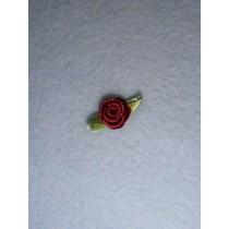 |Ribbon Rose - 8mm Burgundy Silk (Pkg_6)