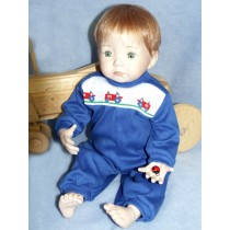 "|Romper - Tractor - 19"" Royal Blue"
