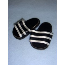 "|Sandal - 2 3_4"" Black w_White Striped Sport"