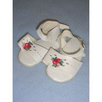 "|Sandal - 3 3_4"" White w_Rose"