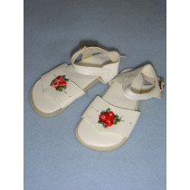 "|Sandal - 4"" White w_Rose"
