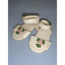 |Sandal - White w_Rose - 2 1_2""