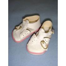 "|Sandal - w_Buckles - 2 3_4"" White w_Pink"