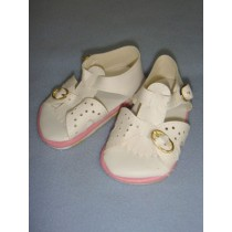 "|Sandal - w_Buckles - 4 1_2"" White w_Pink"