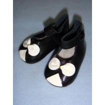""" Shoe - Ankle Strap - 3"""" Black w_White Bow"""