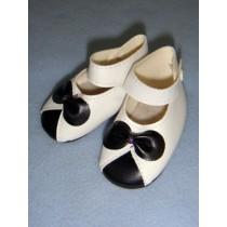""" Shoe - Ankle Strap - 3"""" White w_Black Bow"""