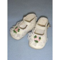 "|Shoe - Ankle Strap w_Lace & Applique - 3"" White"