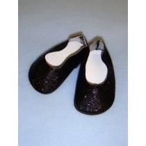 " Shoe - Flats - 3"" Black Glitter"