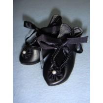 " Shoe - French Toe w_Rosette -2 7_8"" Black"
