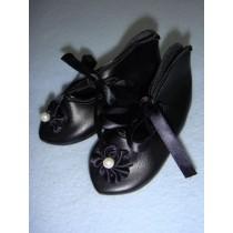 " Shoe - French Toe w_Rosette - 3 1_8"" Black"