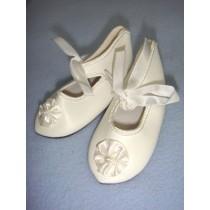 " Shoe - French Toe w_Rosette - 3 7_8"" White"