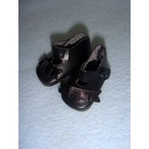 "|Shoe - German Button Strap - 1 1_4"" Black"