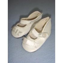 """ Shoe - German Button Strap - 3"""" White"""