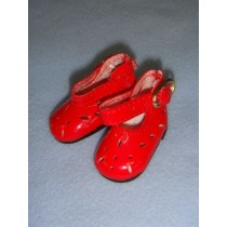 "|Shoe - Patent Cutwork - 1 3_4"" Red"