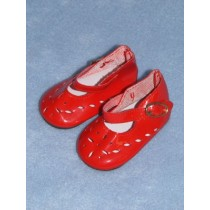 "|Shoe - Patent Cutwork - 2 1_8"" Red"