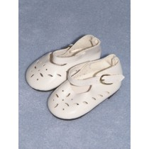 "|Shoe - Patent Cutwork - 2 3_8"" White"