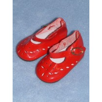"|Shoe - Patent Cutwork - 3 1_2"" Red"