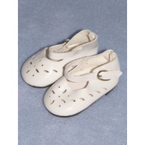"|Shoe - Patent Cutwork - 3 1_2"" White"