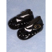 "|Shoe - Patent Cutwork - 3 1_4"" Black"